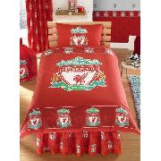 Liverpool Fc Duvet Cover and Pillowcase Border Crest Bedding