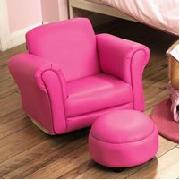 Pink Rocker Chair And Footstool Leather Kids Leather Furniture Faux Leather  At Kids Bedroom Biz