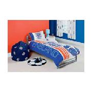England Football Single Duvet Cover Set Blue And White